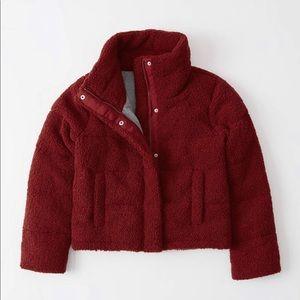Red Sherpa Puffer Jacket Full Zip